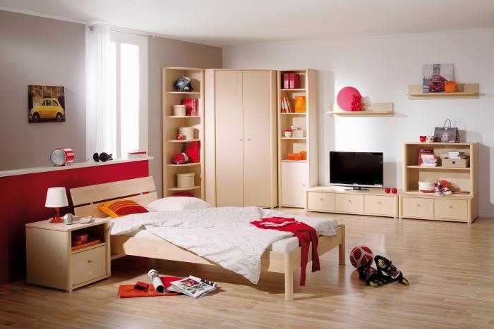 Zwei Einzelbetten untereinander und viel Stauraum   Modell 931